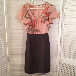 NY & Co M Peach Brown Summer Career Dress